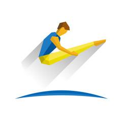 Trampoline gymnastics jumping sportsman vector