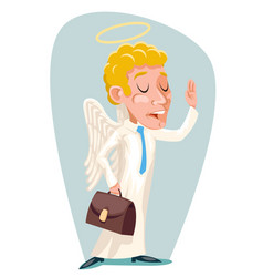 Tutelar guardian angel businessman wise caution vector