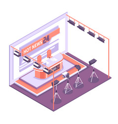 Tv studio isometric concept vector