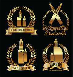 Vape shop golden laurel wreaths retro collection vector
