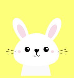 White bunny rabbit cute kawaii cartoon character vector