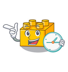 With clock plastic shaped toy on constructi vector