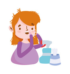 Woman with dry cough spray bottle and tissues box vector