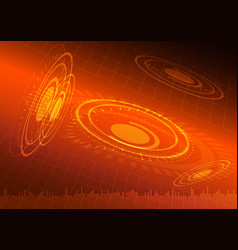 abstract digital technology orange background vector image vector image