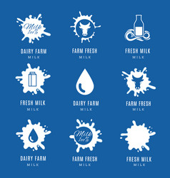 milk splashes logo set labels with drops and vector image vector image