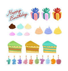 Set Happy birthday Cake candles figures vector image vector image