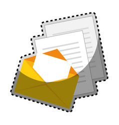 sticker color silhouette with envelope mail and vector image