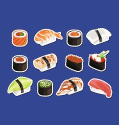 cartoon sushi stickers set isolated vector image