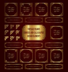 golden vintage frames and corners vector image vector image