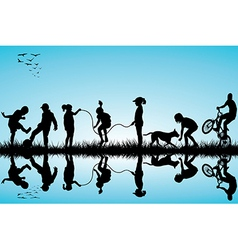 Group of children silhouettes playing vector image
