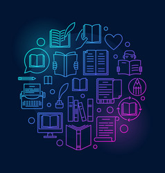 Literature outline colorful vector