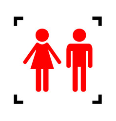 male and female sign red icon inside vector image