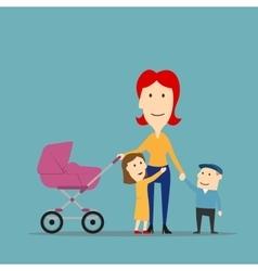 Mother with kids having fun walking outdoor vector image vector image