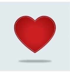 Red heart Icon with stiches vector image