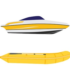 Yacht and inflatable boat vector image