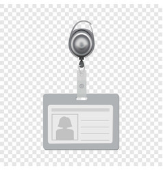 Blank id with silhouette of woman mockup vector
