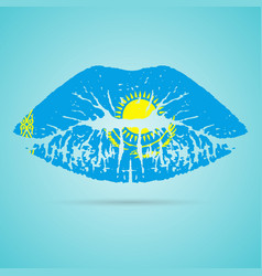 kazakhstan flag lipstick on the lips isolated on a vector image
