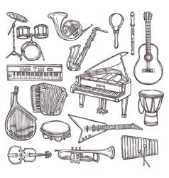 Musical instruments sketch icon vector image