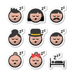 Sleeping dreaming people faces icons set vector image vector image