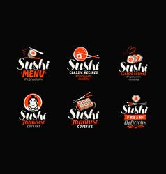 sushi sashimi japanese cuisine logo or label vector image vector image