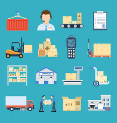 warehouse and logistic set vector image vector image