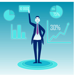 a businessman stands on a blue background and vector image