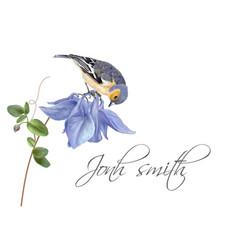 Blue flower bird name card vector