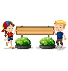 Boy and girl by the wooden board vector image vector image