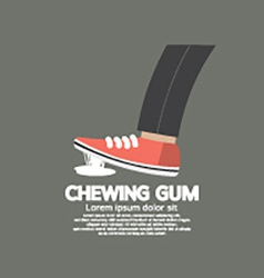 Foot Stuck Into Chewing Gum On Street vector image