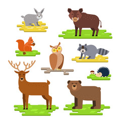 Forest animals set flat with vector