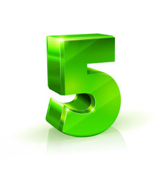 glossy green five 5 number 3d on vector image