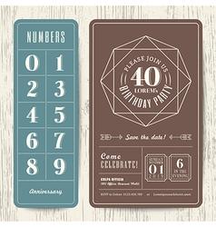 Retro birthday party invitation card vector