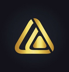 triangle technology media abstract gold logo vector image