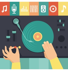turntable and dj hands vector image vector image
