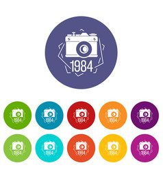 1984 photo camera icons set color vector image