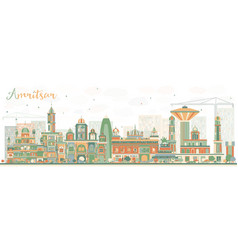 Abstract amritsar skyline with color buildings vector