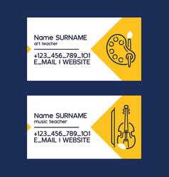 Art or music teacher business cards with art vector