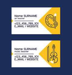 Art or music teacher business cards with vector
