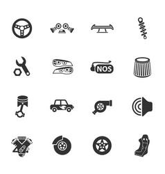 Auto tuning icon set vector
