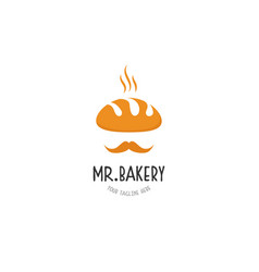 bakery man logo design with mustache symbol vector image