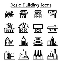 basic building icon set vector image