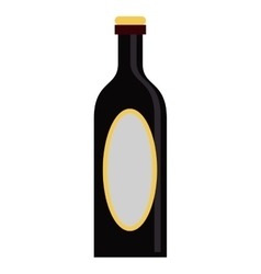Black bottle wine yellow cap blank label vector