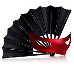black fan and red mask vector image