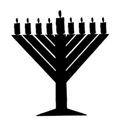 black silhouette of chanukiah hanukkah vector image