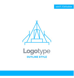 Blue logo design for tent camping camp campsite vector