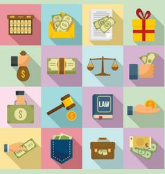Bribery icons set flat style vector