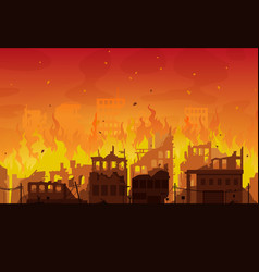 burning city ruins in fire destroyed town houses vector image