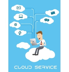 Businessman using tablet pc on cloud service vector image