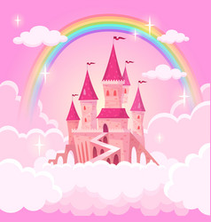 castle of princess fantasy flying palace in pink vector image
