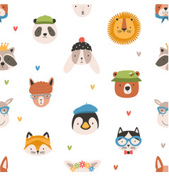 childish seamless pattern with cute funny faces vector image